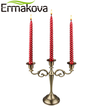 ERMAKOVA 3-Candle Metal Candelabra Retro Candlestick Candle Holder 3 Stands Candlelight Dinner Wedding Gift Home Wedding Decor(China)