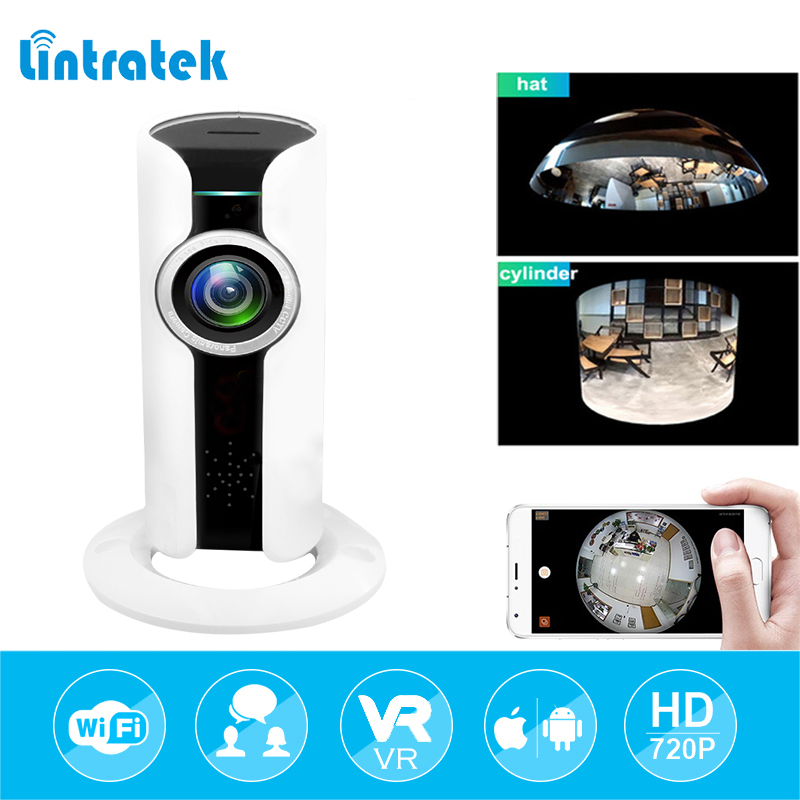 lintratek 720P HD 180 angle Panoramic VR Camara Surveillance Camera Mini WI-FI IP Home security Camera Audio Baby Monitor IP Cam<br>