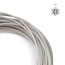 Free Shipping! Wholesale 100M/Roll 7*7 Structure AISI 304 2MM Diameter Stainless Steel Wire Rope