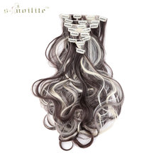 SNOILITE 18 Clips in Hair Extensions Synthetic Hairpiece 24inch Curly 100% Real Natural for Human 8pcs/set 4ap613