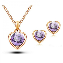2015 Fashion Gold & Silver Plated Crystal Heart Shape Fashion Costume Jewelry Sets for Women Necklace Earrings Sets- g224