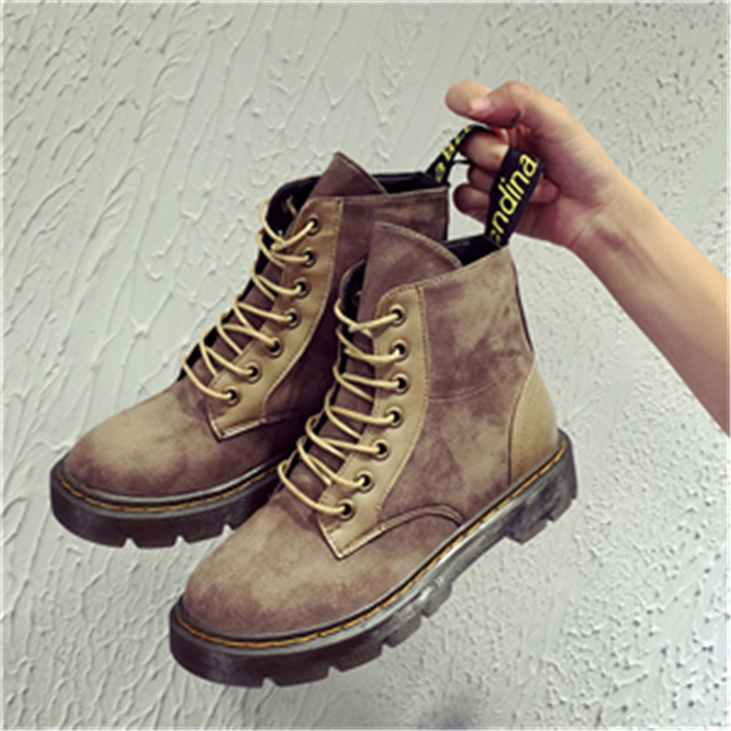 2017 autumn new womens Suede short ankle boots fashion lace up martin shoes with flat heel Free shipping<br><br>Aliexpress