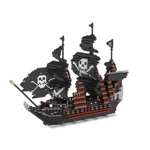 Black Pearl Pirate Ship Building Blocks Particles Blocks Particle Stitching Blocks Toys for Children the Best Toy for kids(China)