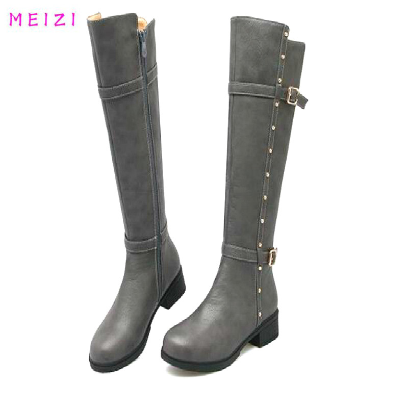 New Sexy women boots High shoes Female high mid heel Knight boots Buckle women snow boot Tied women fashion  winter Female Boot<br>