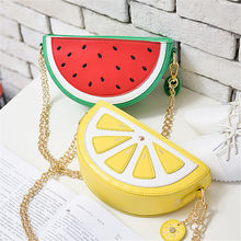 monedero mujer summer female bag quality pu leather women bag cute fruit packet chain shoulder messenger bag orange watermelon