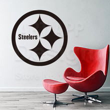 Art design cheap vinyl home decoration Pittsburgh Steelers logo wall sticker removable house decor Rugby sports decals in rooms