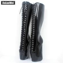 Buy jialuowei Brand 18CM Super High Heel Wedges Ballet Boots Women Stange heels Patent Leather Cross-tie Sexy Fetish Knee High Boots