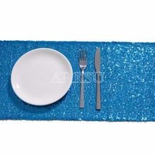 Aqua Blue Sequin Table Runner Sparking Glitter DIY for Wedding/Christmas/Baby Shower(China)