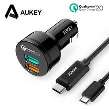 AUKEY Dual USB Car Charger Quick Charge 2.0 Mobile Phone Car-charger Adapter Car Phone Quick Charger for iPhone 7 Samsung Xiaomi