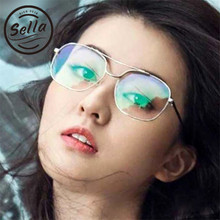 7622563bb19 Sella 2017 New Arrival Unique Square Women Men Glasses Frame Silicon  Nosepad Double Bridge Square Eyewear Frame Brand Designer
