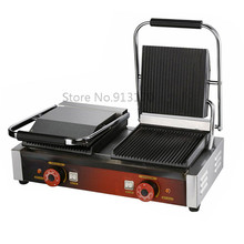 Panini Grill, Sandwich Contact Grill Electric Griddle Double Heads Groove Plates