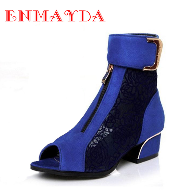 ENMAYDA Blue Black Wine Red Fashion Women High Heels Shoes Woman Peep Toe New Cut-Outs Lace Wedding Shoes Summer Ankle Boots<br><br>Aliexpress