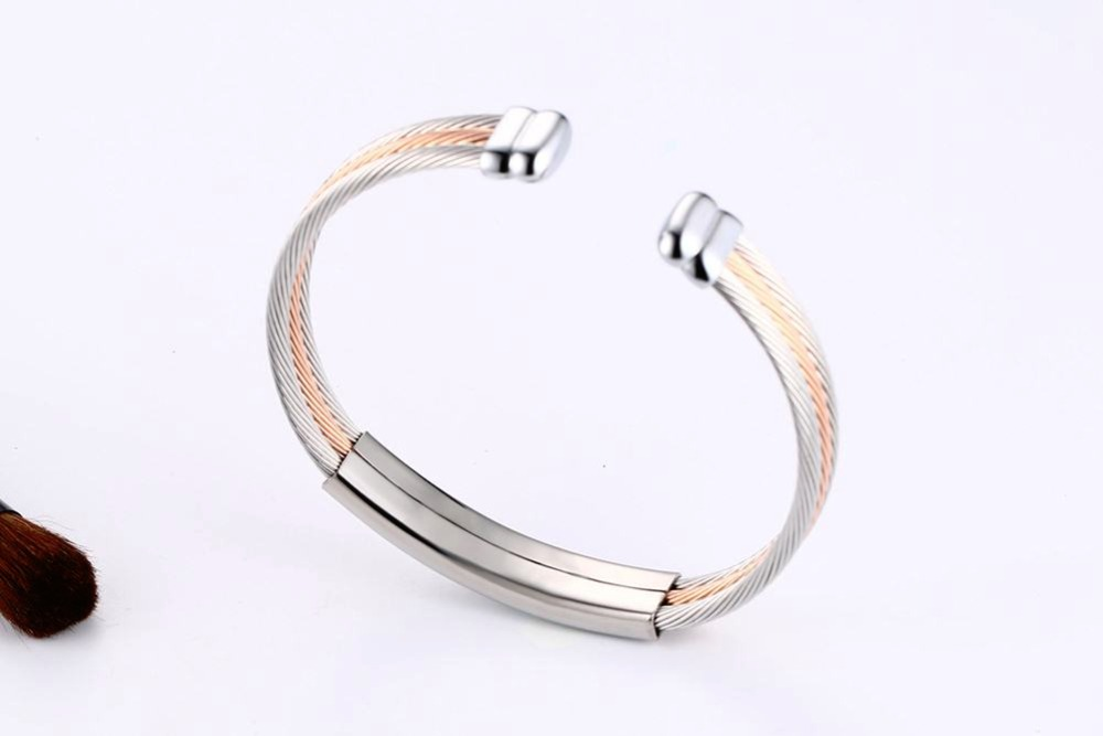 Free engraving Men Women Bracelets Stainless Steel Triple Color Cable Wire Twisted ID Tag  Open Cuff Bangle Bracelet Men Fashion Jewelry pulseira masculina SILVER 18