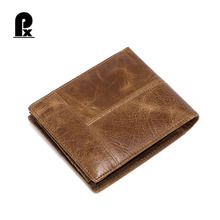 Luxury Genuine Cowhide Leather Men Wallet 2 Fold Coin Purse Multiple Card Holder Crazy Horse Clutch Bag Portfolio Cartera Hombre(China)