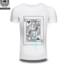 [Rock Sir] Funny King Ace Queen Jack Playing Cards Poker TShirt Printed T-shirts Short Sleeve Unique Men T Shirts Retail