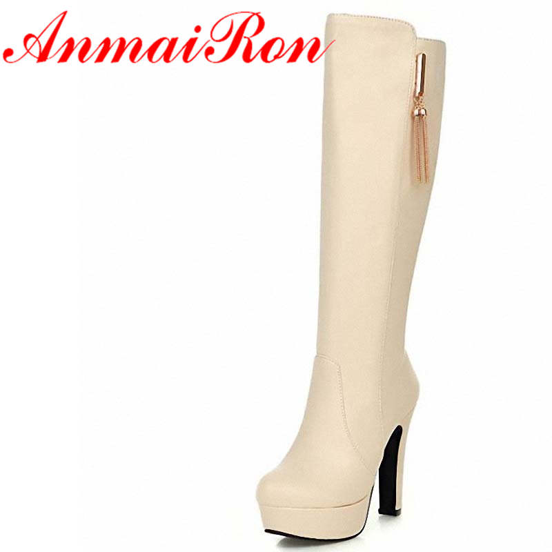ANMAIRON BIG SIZE34-45 Women Knee-High boots black platform pumps shoes women Square heel High Round Toe Winter Knight boots<br>