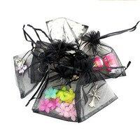 a6ade0a90 17x23 cm 100 piezas negro gris joyería regalo Organza bolsas para la boda  decoración del partido artesanía de dulces paquete festivo suministros en Y  Bolsas ...