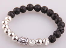 Free shipping Silver beads Lava Bead Bracelet Antique Silver Skull Head Bracelets women bead bracelet