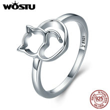 WOSTU New Arrival 100% 925 Sterling Silver Lovely Cat Rings For Women Brand Original Fine S925 Jewelry CQR104(China)
