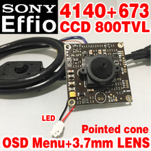"Sony Chip 3.7mm pointed cone Analog hd Mini Monitor camera module 1/3"" CCD Effio 4140+673 800tvl OSD meun surveillance products(China)"