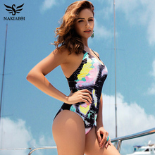 NAKIAEOI Sexy One Piece Swimsuit Women 2017 Summer Swimwear World Map Bandage Bodysuit Monokini Beach Bathing Suits Swim Wear(China)
