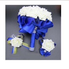 3pc Set Bouquet and Wrist Corsage and Boutonniere Blue buque de noiva White Artifical Rose Wedding(China)