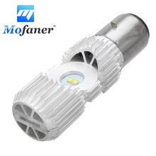 Mofaner 4 LED Scooter BA20D 20W Motorcycle Moped ATV Headlight Bulb Hi/Lo Beam 6000K Motorbike Head Lamp(China)
