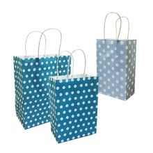 10 Pcs Festival Gift Dot paper Bag Recyclable Blue Paper Bag With Handles 3 Size for choose