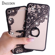 DAGUDON Fashion Cartoon case for iPhone 6 6s Lace Flower ring stand hard Back Cover for iphone 6s bling 3d rhinestone phone case(China)