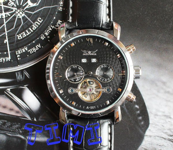 Titanium Black Mens Timepiece Army Military Automaic Mechanical Leather Watch freeship<br>