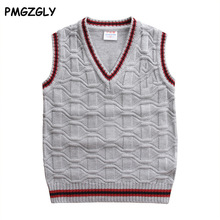 Boy's V-neck Sweater Vest Kids Waistcoat Vest Girls Boys Sweaters For 4-10T New 2017 Spring Autumn 100% Cotton Baby Cardigan(China)