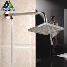 "Luxury Chrome 8"" Rainfall Square Showerhead Bathroom Wall Mount Shower Arm 150cm Stainless Steel Shower Hose"
