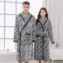 Autumn Winter Women Robes Long Mujer Robe Couples BathrobeThickening Coral Fleece Flannel Leopard Nightgown(China)