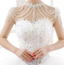 Exquisite Bride Wedding Bolero Women Shoulder Chain Cape Beaded Crystals Appliques Bridal Shawl Wedding Jackets