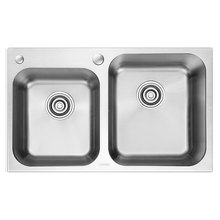 OPPEIN Stainless Steel Easy to Clean Double Bowel Kitchen Sink with Faucet (OP-PS329)(China)