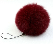 fur pom keychain Real Rabbit Fur Ball Key chains fur keyring porte clef llaveros Key Chain For Bag Charm navidad regalos(China)