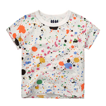 1-10Years Children Clothing 2017 Summer Colorful Graffiti Boys T shirts Fashion Tops for Girls New Design 100% Cotton Kids Tee