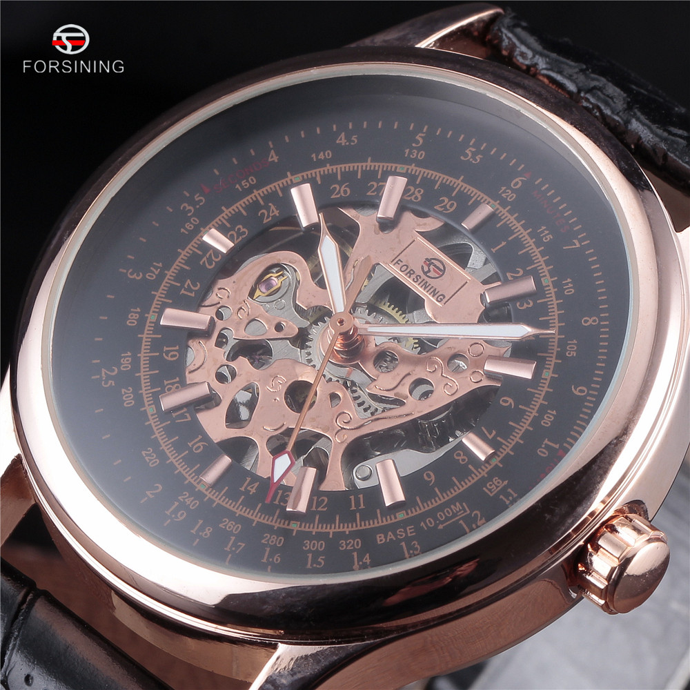 2017 FORSINING Mens Fashion Design Black Rose Gold Military Watch Hand Wind Mechanical Watches Leather Band Male Skeleton Clock<br><br>Aliexpress