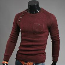lager size men clothing Free shopping Irregular button stitching Korean fashion Slim solid color sweater / M-2XL