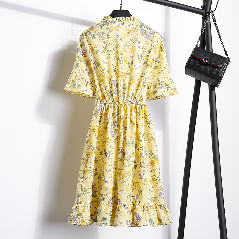 2018 Free Shipping New Fashion Floral Chiffon Summer Dresses Sweet Thin Word Slim Women Work Wear Print Dress Casual Cute Hot 20