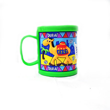 New Customized Plastic Elegant Coffee Mugs Kids Cups Green Embossed Dubai Water Tumbler Cute Mugs With Lids Drinkware Tools