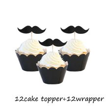 Omilut 24pcs Creative Fake Mustache Cake Topper Mustache Birthday Party Adult Decoration Little Man Balloons/Paper/Napkins/Stick(China)