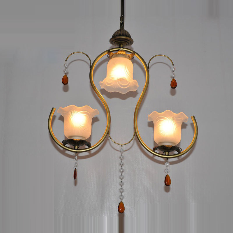 Country Rustic 3 Lights Crystal Dining Room Pendant Light Vintage Balcony Corridor Lounge Gallery Pendant Lamp Fixture<br><br>Aliexpress