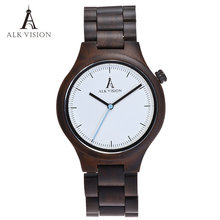 Wood Clock Designer Watches Men High Quality Wooden Watch Eco friendly Ebony Wood Band Watch Quartz Times Mechanism(China)