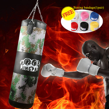 100cm High quality Canvas MMA kick Boxing Punching bag red heavy duty bag Muay thai training fighting sand bag Empty punch bags