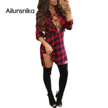 Ailunsnika 2017 new arrival hot sales spring novel design lacing up V neck Plaid V-Neck Tied Dress fashion sexy club wear MS400