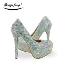 New Arrival Shining crystal women wedding shoes Bride fashion Rhinestone party dress shoes female Bling Bling shoes(China)