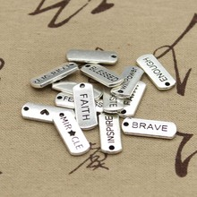 Buy 15pcs Charms plates fearless blessed fearless dream hope brave 21*8mm Tibetan Silver Pendant Findings Accessories DIY Vintage for $2.18 in AliExpress store