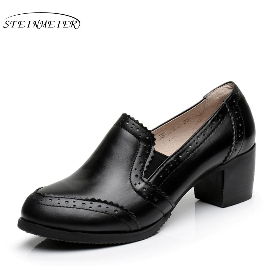 Genuine leather big woman shoes US size 9 designer vintage High heels round toe handmade grey black pumps with fur<br>