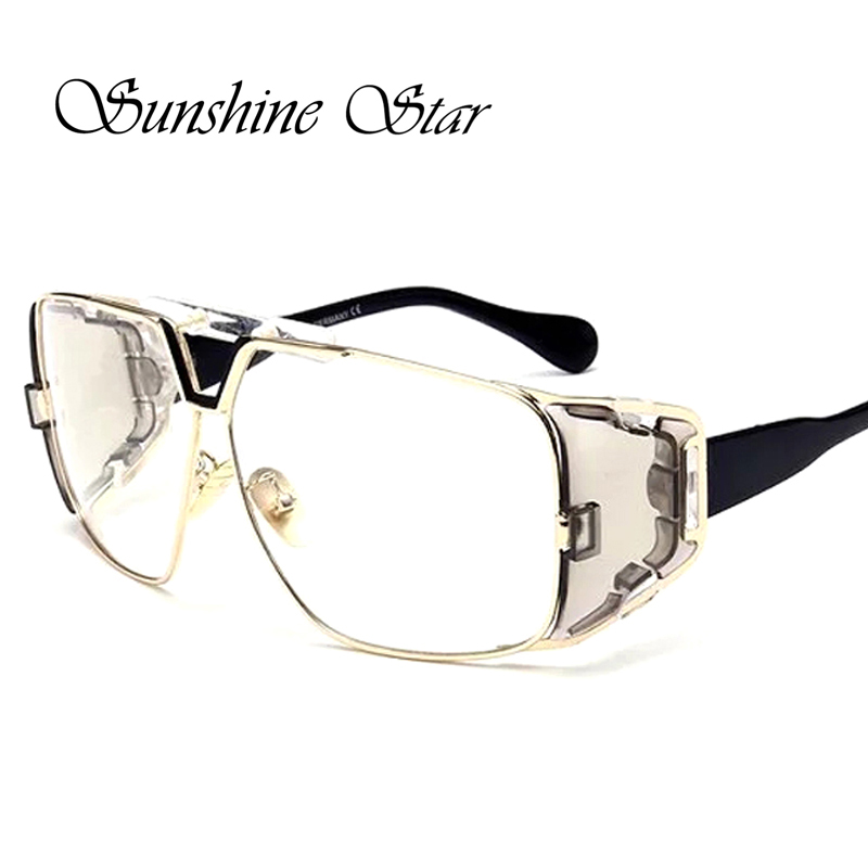 Sunshine Star Brand Oversized Clear lens glasses Women Men Flat Top Mirror Square Glasses Celebrity Oculos High Quality Gafas<br><br>Aliexpress